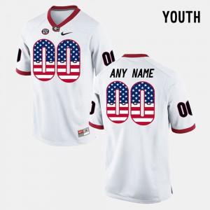 #00 UGA Custom Jersey US Flag Fashion White Kids 908952-957