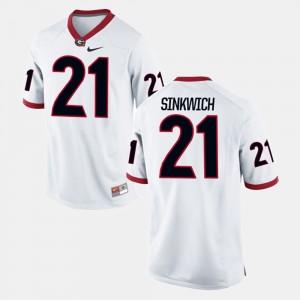 White Frank Sinkwich UGA Jersey Alumni Football Game #21 For Men's 338329-763
