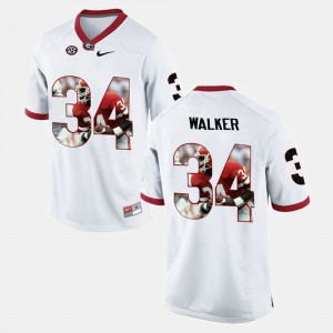 Player Pictorial White Herschel Walker UGA Jersey #34 For Men's 489902-597