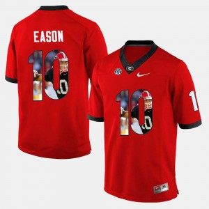 Mens #10 Jacob Eason UGA Jersey Red Player Pictorial 644734-918