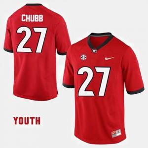 Nick Chubb UGA Jersey College Football Red Kids #27 946298-241