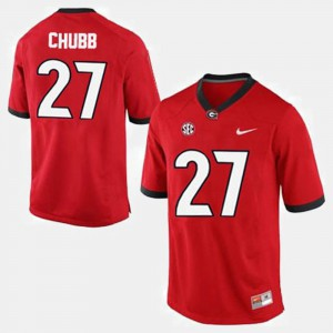 Red #27 Nick Chubb UGA Jersey College Football For Men's 653518-500