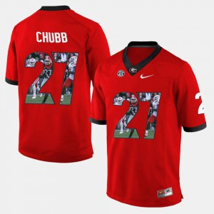 Player Pictorial Nick Chubb UGA Jersey Red For Men #27 733169-681