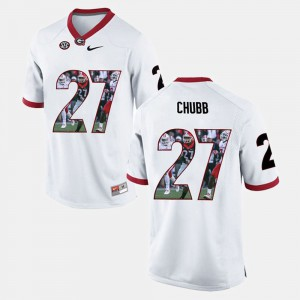#27 White Nick Chubb UGA Jersey For Men's Player Pictorial 325637-465