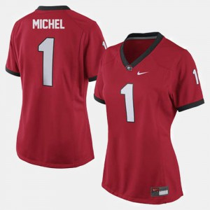 Women's Red College Football #1 Sony Michel UGA Jersey 652026-210