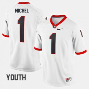 #1 Sony Michel UGA Jersey College Football Youth(Kids) White 865893-657