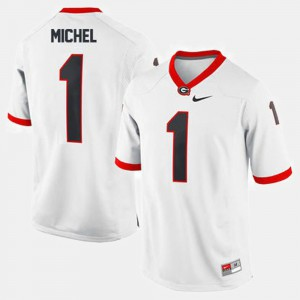 #1 Sony Michel UGA Jersey Mens College Football White 588380-404