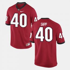 Alumni Football Game Mens #40 Theron Sapp UGA Jersey Red 928316-386