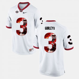 White Player Pictorial Men's #3 Todd Gurley II UGA Jersey 844133-574