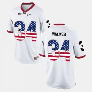 Herschel Walker UGA Jersey White US Flag Fashion #34 Mens 270958-976