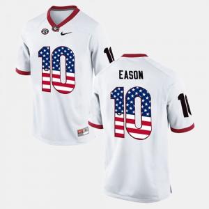 White #10 US Flag Fashion For Men's Jacob Eason UGA Jersey 554217-368