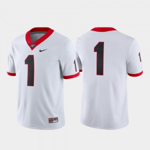 For Men #1 Game College Football UGA Jersey White 461259-757
