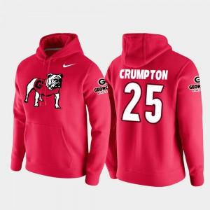 #25 Vault Logo Club Mens Ahkil Crumpton UGA Hoodie Red College Football Pullover 307561-931