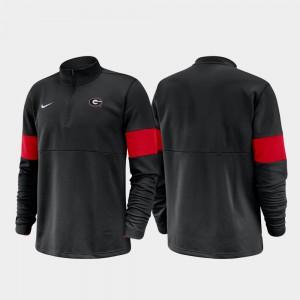 Men UGA Jacket Half-Zip Performance 2019 Coaches Sideline Black 295070-632