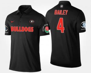 #4 Bowl Game Champ Bailey UGA Polo Mens Black Southeastern Conference Rose Bowl 119456-509