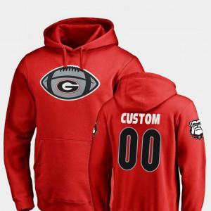 #00 Game Ball Football Red For Men UGA Customized Hoodies 618610-363