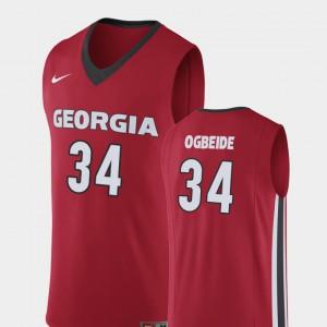 College Basketball Replica #34 Red Derek Ogbeide UGA Jersey For Men 370992-781
