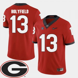 Red #13 For Men Elijah Holyfield UGA Jersey College Football 2018 SEC Patch 953395-280