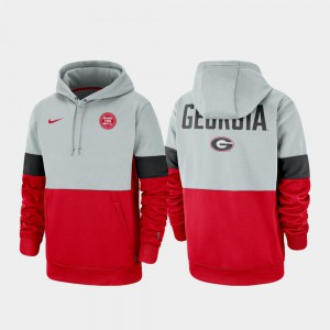 UGA Hoodie For Men's Rivalry Gray Red Therma Performance Pullover 250376-683
