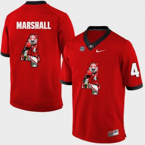 Pictorial Fashion Keith Marshall UGA Jersey #4 Red Men 824280-587