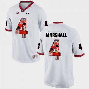 Pictorial Fashion White For Men's Keith Marshall UGA Jersey #4 665638-328