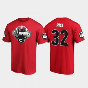 For Men Monty Rice UGA T-Shirt Red #32 2019 SEC East Football Division Champions 545398-679