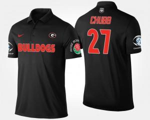 Bowl Game Black Nick Chubb UGA Polo #27 Southeastern Conference Rose Bowl Men 792202-440