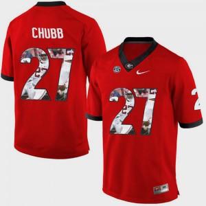 Men's Red Pictorial Fashion Nick Chubb UGA Jersey #27 397266-451