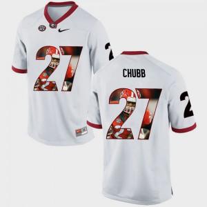 Nick Chubb UGA Jersey White #27 Mens Pictorial Fashion 206047-222
