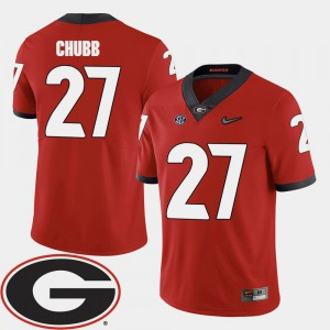 College Football 2018 SEC Patch #27 Nick Chubb UGA Jersey Red Men's 491231-879