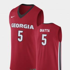 Red Men's College Basketball Replica #5 Pape Diatta UGA Jersey 833024-711