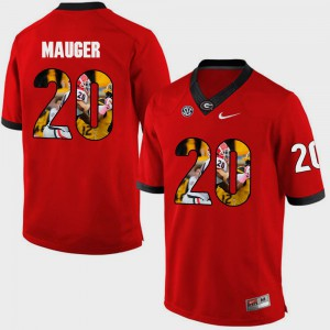 Mens #20 Pictorial Fashion Quincy Mauger UGA Jersey Red 462355-117