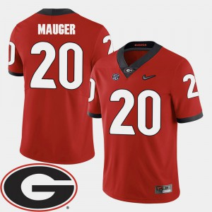 2018 SEC Patch #20 Red Quincy Mauger UGA Jersey For Men's College Football 647823-736