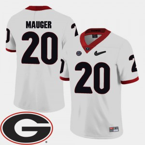 White 2018 SEC Patch #20 College Football For Men Quincy Mauger UGA Jersey 584556-238