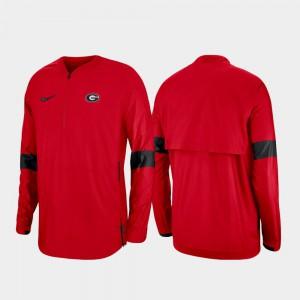 Quarter-Zip Red UGA Jacket 2019 Coaches Sideline Mens 300413-440