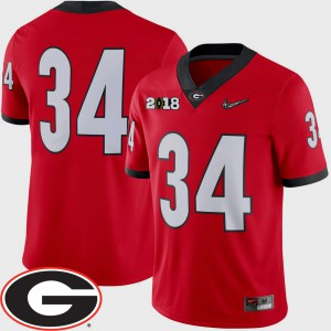 2018 National Championship Playoff Game #34 Red College Football For Men UGA Jersey 302084-309