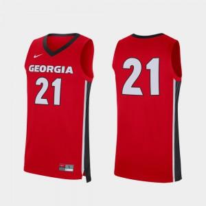 Men's Replica Red #21 UGA Jersey College Basketball 554029-277