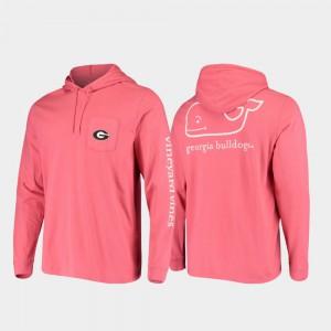 Hooded Long Sleeve UGA T-Shirt Whale Red For Men 750671-681