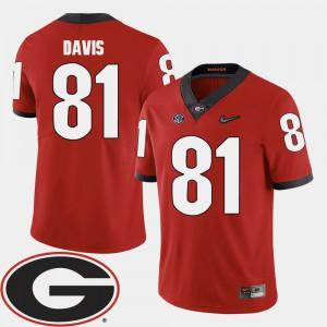 Reggie Davis UGA Jersey Red Mens 2018 SEC Patch College Football #81 253208-186