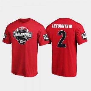 For Men's #2 Red Richard LeCounte III UGA T-Shirt 2019 SEC East Football Division Champions 424671-962