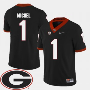 Black College Football For Men Sony Michel UGA Jersey #1 2018 SEC Patch 640415-988
