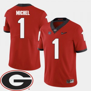 Red 2018 SEC Patch #1 College Football Men's Sony Michel UGA Jersey 404890-786