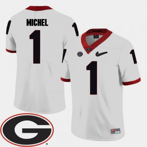 College Football White Sony Michel UGA Jersey 2018 SEC Patch For Men's #1 677291-997