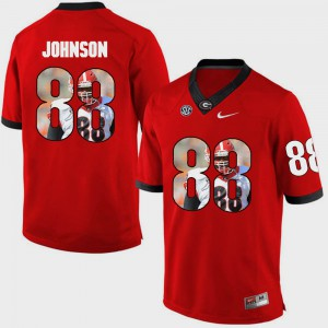 Mens Red Toby Johnson UGA Jersey #88 Pictorial Fashion 630079-214