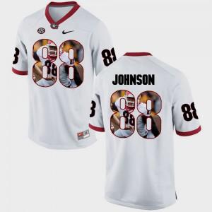 #88 Men White Toby Johnson UGA Jersey Pictorial Fashion 390327-625