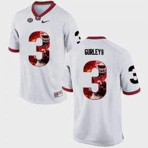 White Pictorial Fashion Todd Gurley II UGA Jersey For Men #3 307831-294