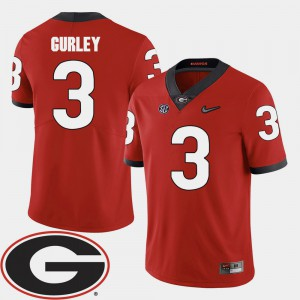 #3 Todd Gurley UGA Jersey 2018 SEC Patch For Men's Red College Football 709087-174