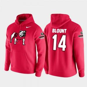 Vault Logo Club College Football Pullover Mens #14 Red Trey Blount UGA Hoodie 137558-360