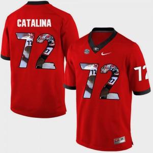 Men's Pictorial Fashion Red Tyler Catalina UGA Jersey #72 363299-739