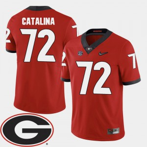 2018 SEC Patch Red College Football Tyler Catalina UGA Jersey #72 Men's 173753-223